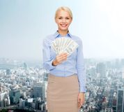 Young businesswoman with dollar cash money Royalty Free Stock Photography