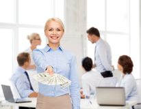Young businesswoman with dollar cash money Stock Photo