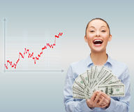 Young businesswoman with dollar cash money Stock Images