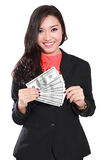 Young businesswoman with dollars in her hands Royalty Free Stock Image