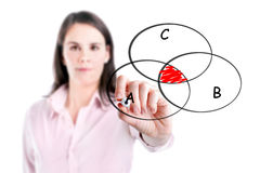 Young businesswoman drawing intersected circle diagram on whiteboard. Stock Images