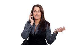 A young businesswoman in a dress is making a phone. A woman with a sellphone and a handcase, wearing a business look Stock Images
