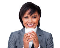 Young businesswoman drinking a cup of tea Stock Images