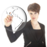 Young businesswoman with earth globe isolated Stock Photos