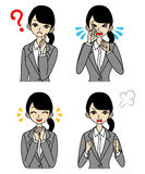 Young Businesswoman Emotional Face set Royalty Free Stock Images