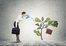 Young businesswoman in empty room watering drawn growth concept with can Stock Photo