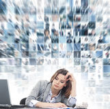 A young businesswoman feeling tired on the work Royalty Free Stock Photos