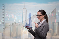 The young businesswoman in financial trading concept. Young businesswoman in financial trading concept Stock Photography