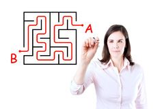 Young businesswoman finding the maze solution. Young businesswoman finding the maze solution writing on the whiteboard. Isolated on white stock photos