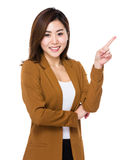 Young businesswoman with finger point up Royalty Free Stock Image