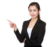 Young businesswoman with finger point up Stock Photo