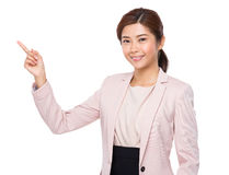 Young Businesswoman with finger point up Stock Photos