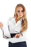 Young businesswoman with folder Stock Photography