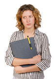 Young businesswoman with folder in hands Royalty Free Stock Image