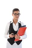 Young businesswoman with folders. Young beautyful businesswoman holding folders Stock Image