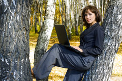 Young businesswoman in the forest. Stock Images