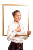 Young businesswoman frame top Stock Photography
