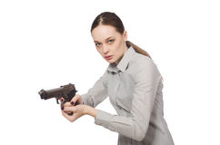 Young businesswoman in funny concept on white Royalty Free Stock Photography