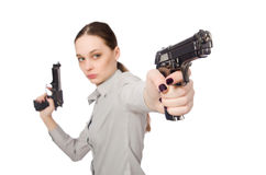 The young businesswoman in funny concept on white Stock Photography