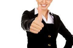 Young businesswoman gesturing thumbs up Stock Photography
