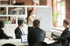 Young businesswoman giving presentation to diverse businessmen a Stock Photo