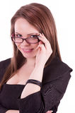 Young Businesswoman with glasses. Isolated on a white background Royalty Free Stock Photography