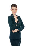 Young businesswoman with glasses. And pen Royalty Free Stock Photography