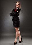 Young businesswoman on gray Stock Photos