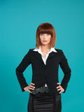 Young businesswoman, with gun in pocket Stock Photo