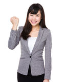 Young businesswoman with hand gesture for cheer up. Isolated on white background Stock Photography