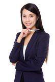 Young businesswoman hand hold with a pen Stock Images