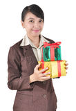 Young businesswoman happy smile hold gift box. In hands, isolated on white background Stock Image