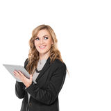Young businesswoman happy using tablet PC, look away, Royalty Free Stock Photo