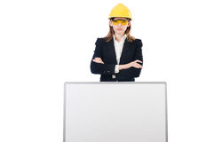 Young businesswoman with hard hat Royalty Free Stock Photo
