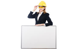 Young businesswoman with hard hat Stock Photography