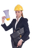 Young businesswoman with hard Stock Image