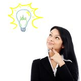 Young businesswoman having brilliant idea Stock Image