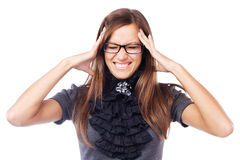 Young businesswoman having a headache Stock Photo