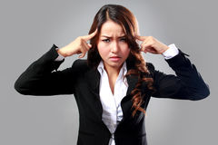 Young businesswoman having headache, stress, problem Royalty Free Stock Photography