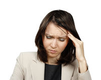 Young businesswoman with headache Royalty Free Stock Photos