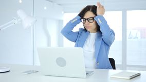 Young Businesswoman with Headache, Tension and Stress. 4k , high quality Stock Photography