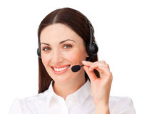 Young businesswoman with headset on Stock Images