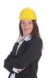 Young businesswoman with helmet Royalty Free Stock Photos