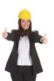 Young businesswoman with helmet Royalty Free Stock Image