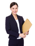 Young businesswoman hold with folder Royalty Free Stock Photo