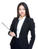 Young businesswoman hold with laptop computer royalty free stock photo