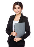 Young businesswoman hold with laptop computer Royalty Free Stock Image