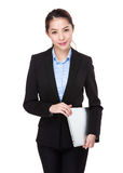 Young businesswoman hold with notebook computer Royalty Free Stock Photo