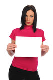 Young Businesswoman Holding A Blank Sign Royalty Free Stock Image