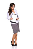 Young businesswoman holding clipboard Stock Image